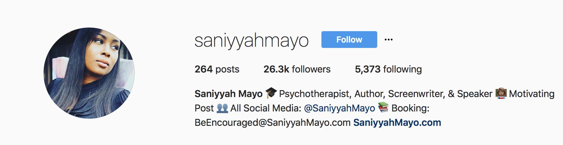 Saniyyah Mayo Instagram