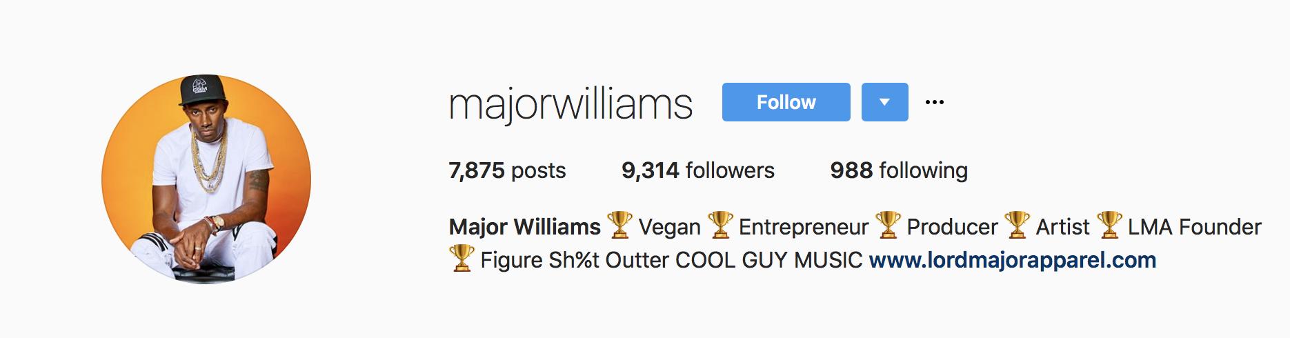 Major Williams Instagram