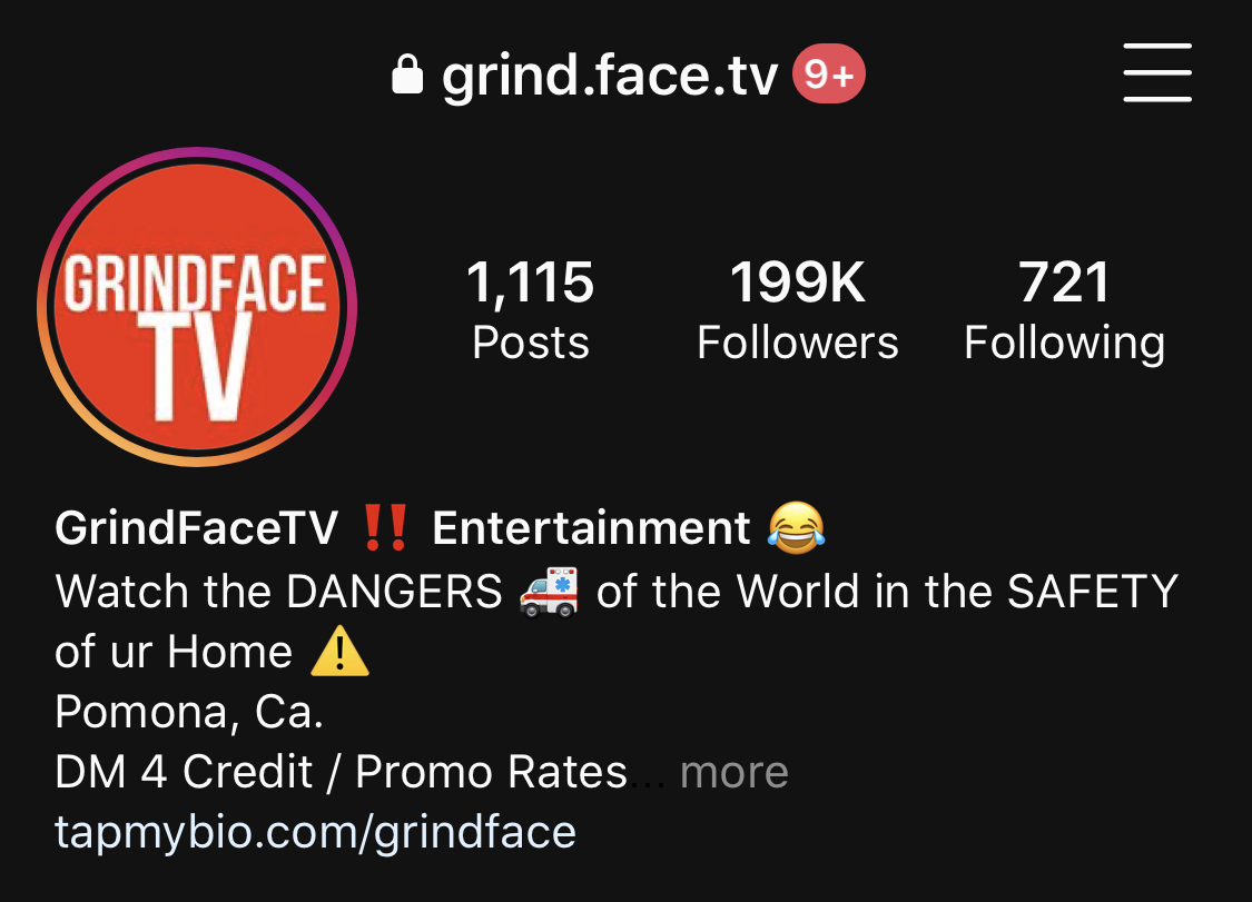 GrindFace TV Instagram