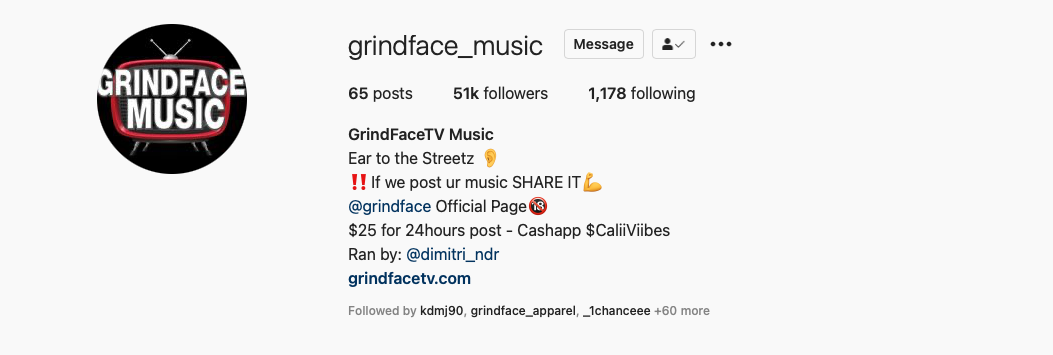 Follow GrindFace TV Music