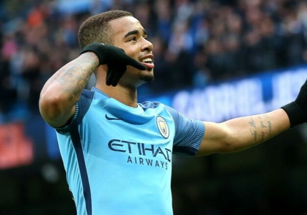 MANCHESTER, ENGLAND - FEBRUARY 05:  Gabriel Jesus of Manchester City celebrates scoring his sides second goal during the Premier League match between Manchester City and Swansea City at Etihad Stadium on February 5, 2017 in Manchester, England.  (Photo by Alex Livesey/Getty Images)