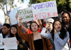 Mandatory Credit: Photo by ANDREW GOMBERT/EPA-EFE/REX/Shutterstock (9459077b) Redondo Union High School students walk out of class and assemble outside  their school for the National School Walkout, a nation-wide protest against gun violence, in Redondo Beach, CA, USA, 14 March 2018. Organizers of the 17-minute protest, one minute for each victim of the Stoneman Douglas High School shooting that took place on 14 February, hope to call attention to Congressional inaction on the issue. National School Walkout in Redondo Beach, California, Beverly Hills, USA - 15 Mar 2018
